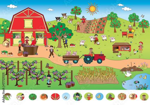 Foto op Canvas Boerderij game for children