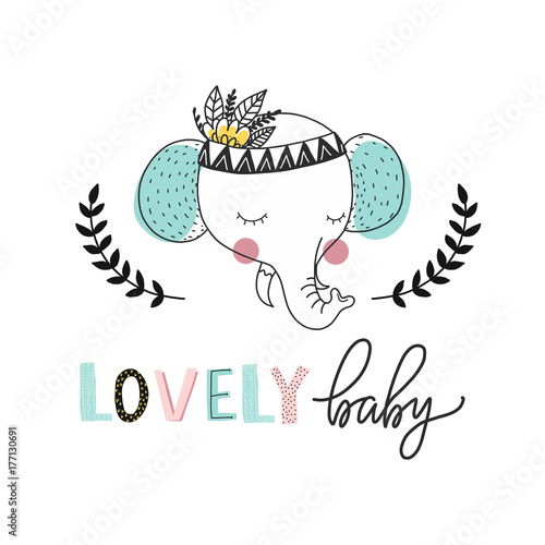 Print for nursery. Scandinavian style baby print. Hand drawn vector illustration with elephant. Vector lettering. - 177130691