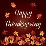 happy thanksgiving graphic with gradient falling leaves - 177130845