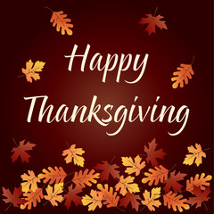 happy thanksgiving graphic with gradient falling leaves