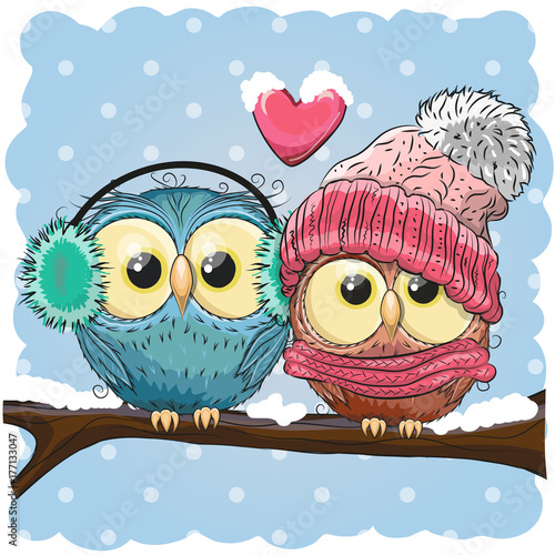 Aluminium Uilen cartoon Two cute drawn Owls sits on a branch
