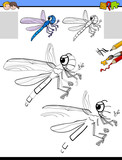 drawing and coloring activity with dragonfly - 177134237