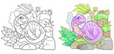 cartoon little plesiosaur, funny illustration