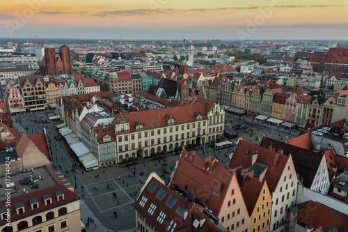 Fototapeta Wroclaw skyline with beautiful colorful historical houses of the Old Town, aerial view from the viewing terrace of the Saint Elizabeth Church