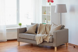 sofa with cushions at cozy home living room - 177146689