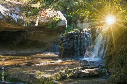 Cascata nella foresta all'alba Poster