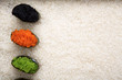 Top view on sushi gunkan on white rice background and texture copy space