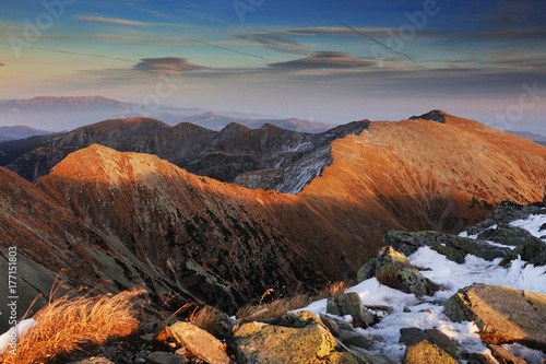 Foto op Plexiglas Chocoladebruin Alpine autumnal landscape in National Park Retezat, Romania, Europe