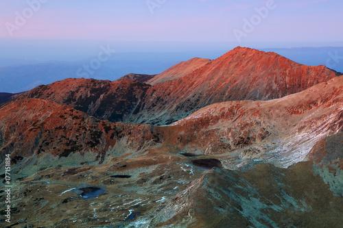 Fotobehang Diepbruine Alpine autumnal landscape in National Park Retezat, Romania, Europe