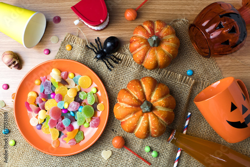 Poster halloween top view decor with candy colorful