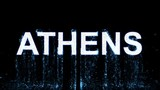 Name ATHENS appears from the water, then disappears. Transparent alpha channel. 3D rendering - 177154602