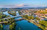 View of the Vah river at Trencin, Slovakia