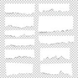 Torn blank paper sheets. Vector note pieces collection with sticky tape. - 177156601