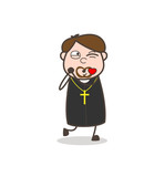 Comic Priest Falling in Love and Blowing Kiss Vector - 177157663