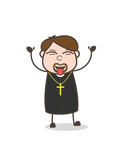 Funny Priest Teasing Tongue Face Vector - 177157841