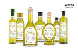 Extra virgin olive oil realistic glass bottles set with labels. Layout of food identity branding, modern packaging design. Healthy organic product, natural vegetarian nutrition vector illustration - 177158443