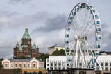 Uspenski Cathedral and Skywheel - Helsinki - Finland. poster
