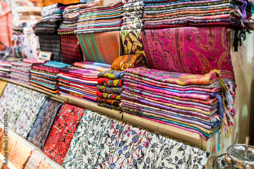 Various traditional colorful and vintage turkey oriental fabrics and rugs for sa Poster