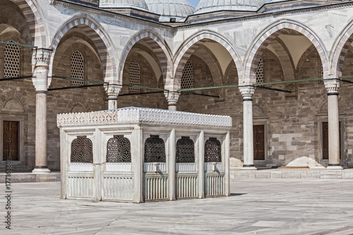 court yard of the famous landmark Suleymaniye Mosque in hostorical centre Istanb Poster