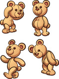 Cartoon teddy bear in different posses. Vector clip art illustration with simple gradients.
