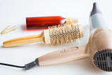 hairdryer, brush, hot styling hair spray and pins - 177166012