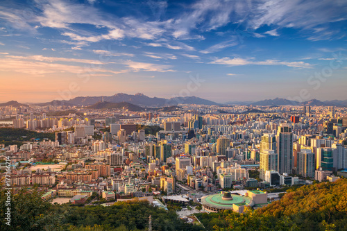 Seoul. Cityscape image of Seoul downtown during summer day. Poster