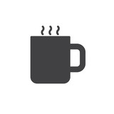 Mug with hot drink icon vector, filled flat sign, solid pictogram isolated on white. Symbol, logo illustration. - 177166856