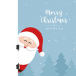 santa claus behind side banner christmas greeting text winter landscape background