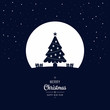 Christmas tree winter night greeting text big moon