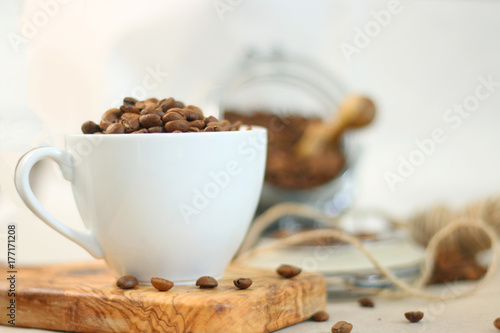Wall mural rustic coffee beans and wood
