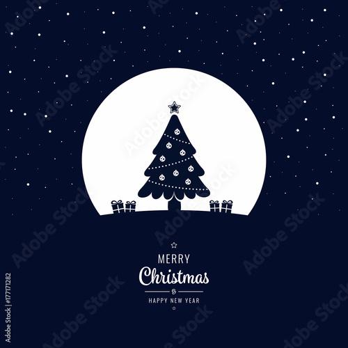 Christmas tree winter night greeting text big moon