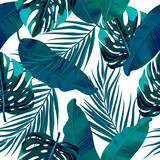 Seamless pattern of tropical leaves of palm tree.  Vector background. - 177171881