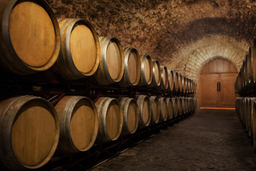 Old wine barrels in the wine cellar