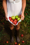 Girl with white dress hold apples - 177183646