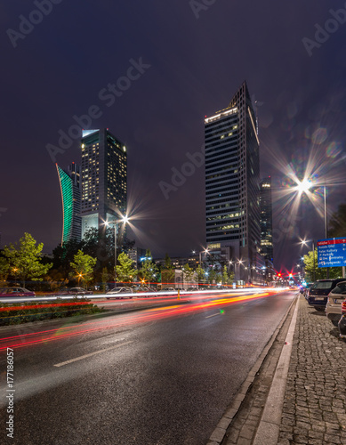 Warsaw, capital Poland, skyscrapers in the city center in the night