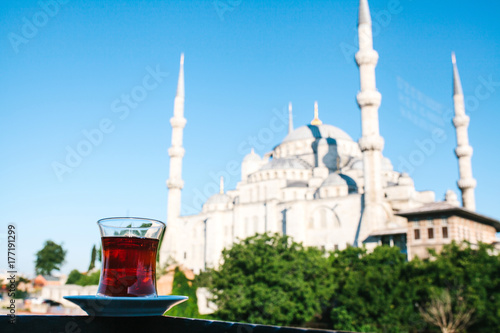 Traditional aromatic Turkish black tea in a tulip-shaped glass Poster
