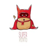 vector funny cartoon cute brown super hero potato with red hero cape - 177193063