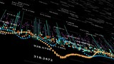 Abstract background with animation of growing charts and flowing counters of numbers with symbols of percent. Financial figures and diagrams showing increasing profits, 4K animation - 177198876