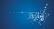 New Year 2018 line design firework white blue vector