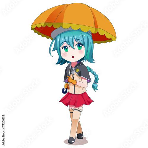 Anime Girl Holding Umbrella Illustration - 177200238