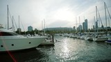 Luxury yachts moored on pier near city - 177201857