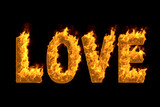 Fire word 'Love' isolated on black background, 3d illustration - 177202202