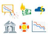 Crisis symbols concept problem economy banking business finance design investment icon vector illustration. - 177205698