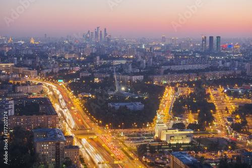 Papiers peints Moscou City evening landscape of Moscow. Prospect Mira, VDNH, Ostankino