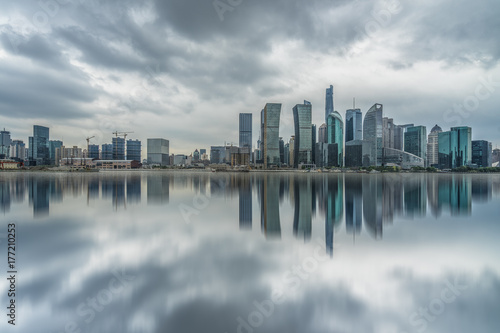 panoramic view of shanghai skyline with huangpu river Poster