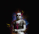 bearded handsome man with sunglasses popart portrait
