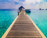 Tropical island vacation image, jetty on the turquoise blue water - 177214699