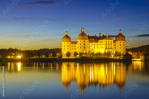 Moritzburg Castle in the night illumination Poster