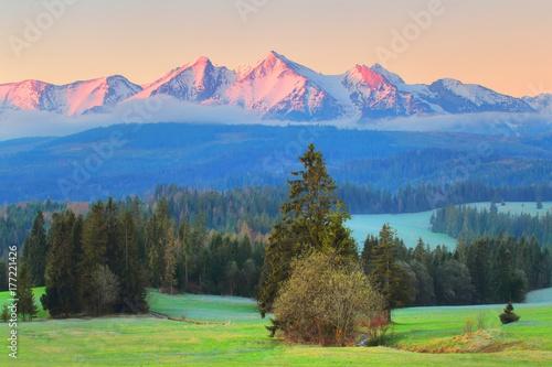 Sunny morning landscape of polish mountains