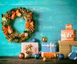 Christmas decoration on wood desk